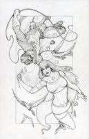WIP: Commission: Robin and Starfire by Cauldron03