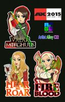 Game of Thrones stickers at AX15! by sakuyasworld