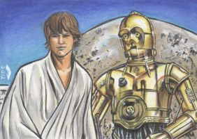 LUKE And  C3P0 SKETCH CARD by AHochrein2010