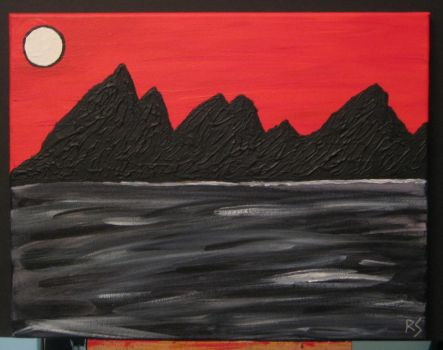 White Moon and Black Mountains by DiabolicalRob
