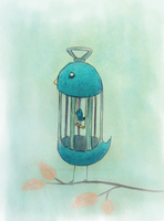 Bird Cage [Day 6 - Inanimate + animate object] by CelestialDarkMatter