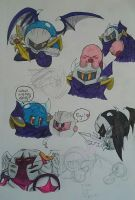 Kirby and Meta Knight doodles by KareBear117