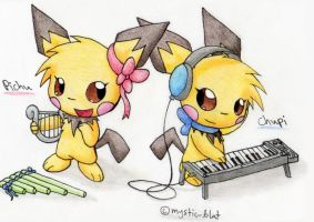 Pichu and Chupi- music shop by mystic-blat
