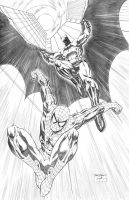 Spidey-Batman Commission by SheldonGoh
