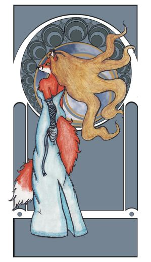 Art Nouveau Foxy by AutumnWindFoxy