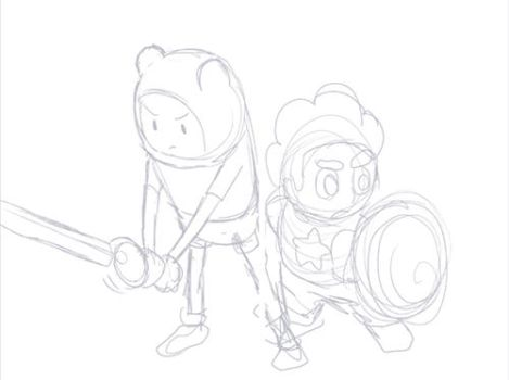 Finn and Steven crossover Making Process by izumi07