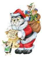 Santa Claus Christmas Cat by bigcatdesigns