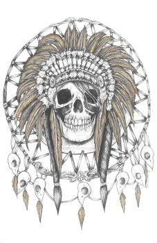 Skull Indian Headress in Dreamcatcher, spot colors by BrittanyHanks