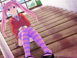 Loli on the Staircase by Lezombie-kun