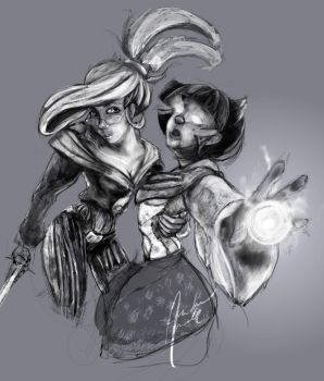 Lina and Nix Sketch by StrangeAxle