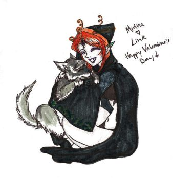 Valentines Link and Midna by Maurexen