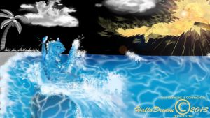 Running Summer Sun Cat and the Water Cat,Cloud Cat by HalloDream