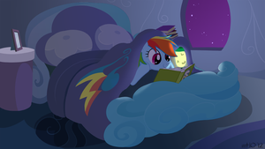Commission: Reading Rainbow at Night by empty-10