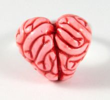 Heart Brains Ring by NeverlandJewelry