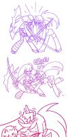 Stocking and Kneesocks Fight by Yamino