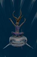A Girl and her Shark by the0phrastus