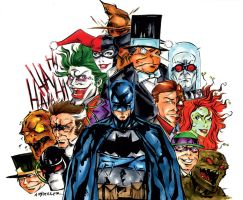 The Bat and his Villains Color by wheels9696