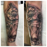 Hour glass and pocket watch tattoo by ajd01
