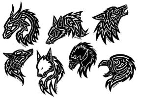 Tattoos, eagle, wolf, dragon by TheMetasepia