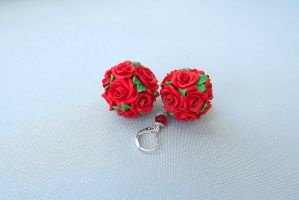 Earrings - Rose Bowls by polyflowers