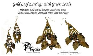 Gold Leaf w Green Bead Earring by HasturCTS