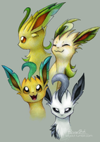 Leafeon Headshots by elbdot