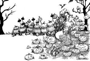 Birth of the Pumpkin Queen - BW drawing by AnaDiasArts