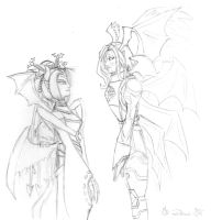 Lucemon and Lilithmon lineart by Danitheangeldevil