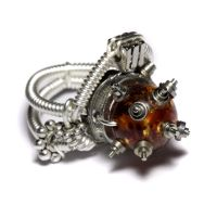 Steampunk Ring Amber by CatherinetteRings