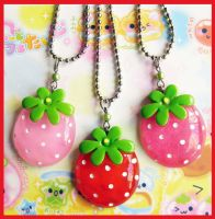 Lolita Strawberry Necklaces by cherryboop