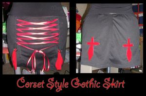 Corset Style Gothic Skirt by ZenAndCoffee