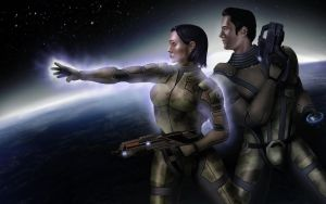 Shepard and Kaidan by Sin-Vraal