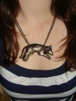 Polymer Clay Wolf Necklace by Fozzilfox