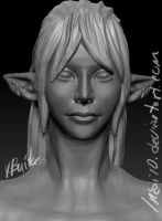 FFXIV-character bust WIP by Inai10
