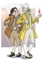 Lumiere and Cogsworth by koenta