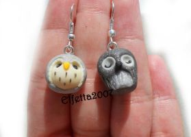 A pair of earrings with lovely owl :) by Elfetta2007