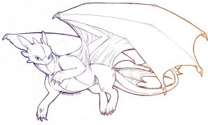 Toothless-Lineart WIP by Zerucune