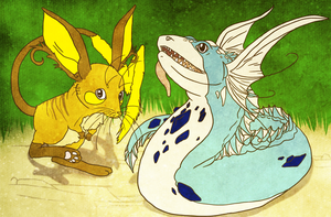 raichu and Hellion the dratini by GrayWolfShadow