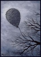 Loneliness ATC - Twine Balloon by ATCs-By-Faeorain