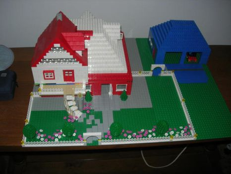 red and white lego house by legochick08