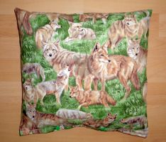 Pillow with wolves by Beast91