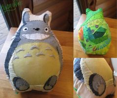 Totoro - Hand Embroidered Pillow by Blargmuffins