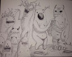 Monster doodles by Ashelectric