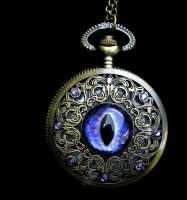 Regal Pocket Watch - Violet Pirple Nebula Eye by LadyPirotessa