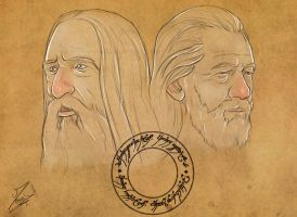 Gandalf and Saruman by Moumou38