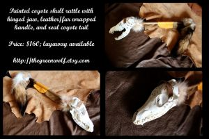 Coyote skull rattle with hinged jaw by lupagreenwolf