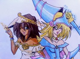 Mana and Black Magician Girl by Kitek1987