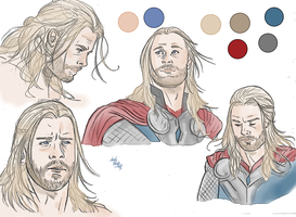 Thor (colored sketch) by LadyMintLeaf