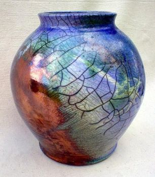 Lunar Eclipse raku pottery jar by anubistj