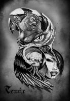 Werewolf half sleve tattoo design by TimHag